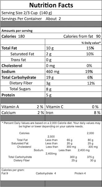 Thai Vegetable PeanutNutrition Facts