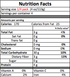 Family Size Brown RiceNutrition Facts