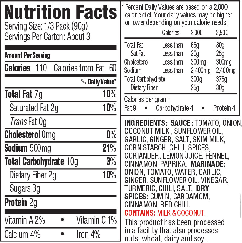 Kashmir CurryNutrition Facts