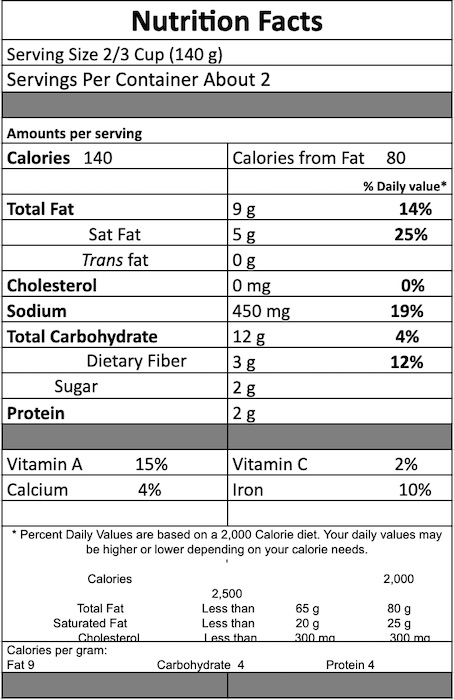 Thai Vegetable CurryNutrition Facts