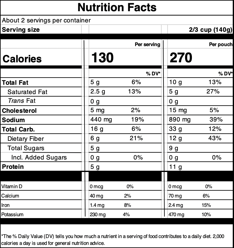 Madras Lentils Hot & Spicy™Nutrition Facts