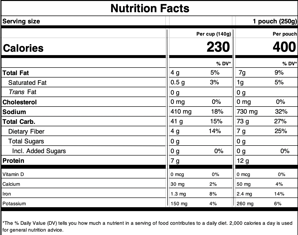 Brown Rice with Quinoa & LentilsNutrition Facts
